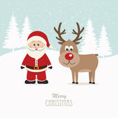 Santa and reindeer snowy winter background — Vector de stock