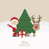 Santa and reindeer behind christmas tree snowy background — Stock Vector