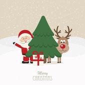 Babbo Natale e renne dietro l'albero di natale neve sfondo — Vettoriale Stock