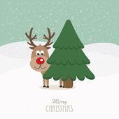 Rendieren rode neus achter boom besneeuwde achtergrond — Stockvector