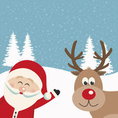 Santa claus and reindeer snowy background — Vector de stock