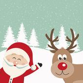 Santa claus and reindeer snowy background — Cтоковый вектор