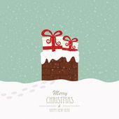 Christmas gift in chimney winter background — Stock Vector