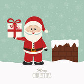 Santa hold gift on snowy roof — Stock Vector