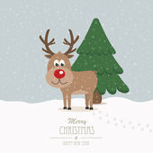 Reindeer on snowy winter background — Stock Vector