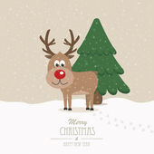 Reindeer on snowy winter background — Stockvektor
