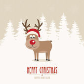 Reindeer santa hat snow winter background — Vecteur