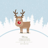 Reindeer merry christmas winter background — Stock Vector