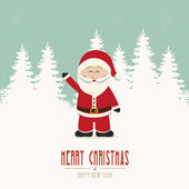 Santa wave snow winter background — Vector de stock