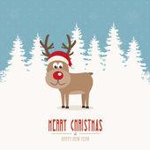 Reindeer santa hat snow winter background — Stock Vector