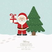 Christmas hold gift snowy winter background — Vector de stock