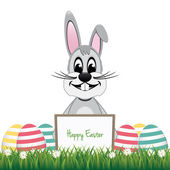 Gray bunny behind board colorful eggs isolated background — Stock Vector