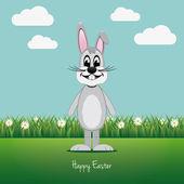 šedý králíček na zelené louce daisy veselé velikonoce — Stock vektor