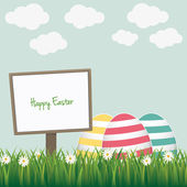 Happy easter sign colorful eggs daisy meadow — Stock Vector