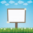 Blank sign board daisy meadow blue background — Stock Vector