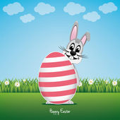 šťastný bunny za velké vejce daisy louka — Stock vektor