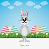 Gri tavşan yeşil alan mutlu paskalya — Stok Vektör