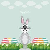 Happy gray bunny colorful eggs daisy meadow — Stockvektor