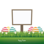 Sign happy easter colorful eggs daisy meadow isolated — Stock Vector