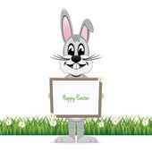 Gray bunny hold happy easter sign board isolated — Stock Vector