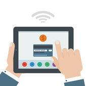 Carta di credito pagamento mobile mano tablet design piatto isola — Vettoriale Stock