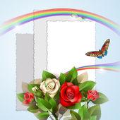 Bakgrund med vackra rosor och foton — Stockvektor
