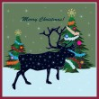 Christmas card with reindeer — Stock Vector #12522491