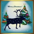 Christmas card with reindeer — Stock Vector #12522495