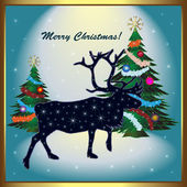 Christmas card with reindeer — Cтоковый вектор