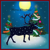 Christmas card with reindeer — Stock Vector
