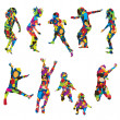Children silhouettes made of colorful spots — Stock Vector