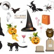 Set of fun Halloween icons — Stock Vector