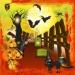 Royalty-Free Stock Vektorfiler: Scary halloween with pumpkins
