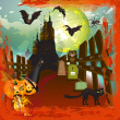 Scary halloween with castle — Stock Vector