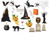 Set of fun Halloween icons — Stock Vector