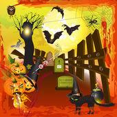 Strašidelné halloween s dýně — Stock vektor