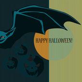 与蝙蝠和南瓜万圣节 — 图库矢量图片