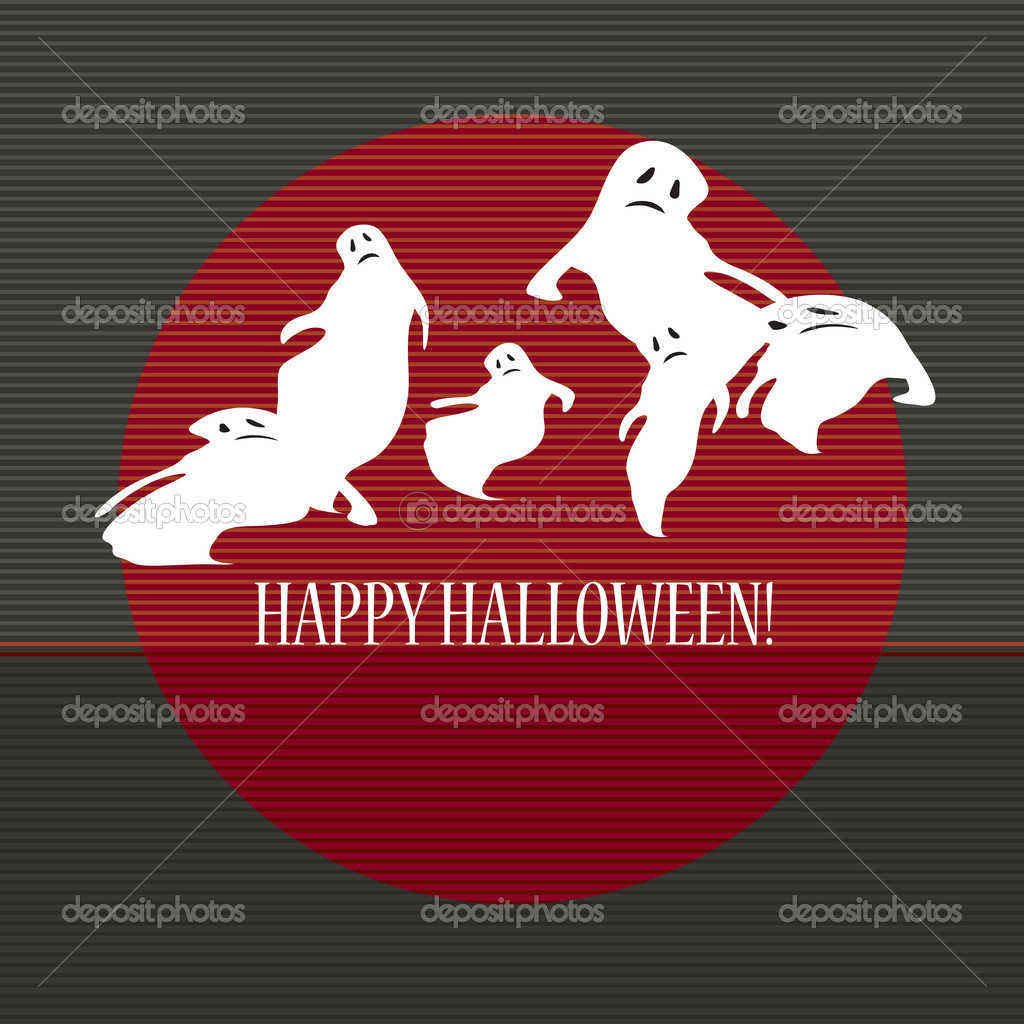 Halloween with ghosts. Can be used as card, background and poster  — Imagen vectorial #12859050