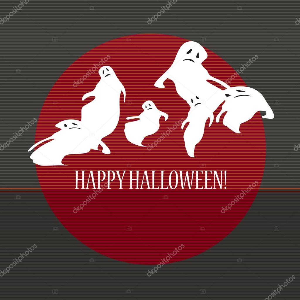 Halloween with ghosts. Can be used as card, background and poster  — Векторная иллюстрация #12859050