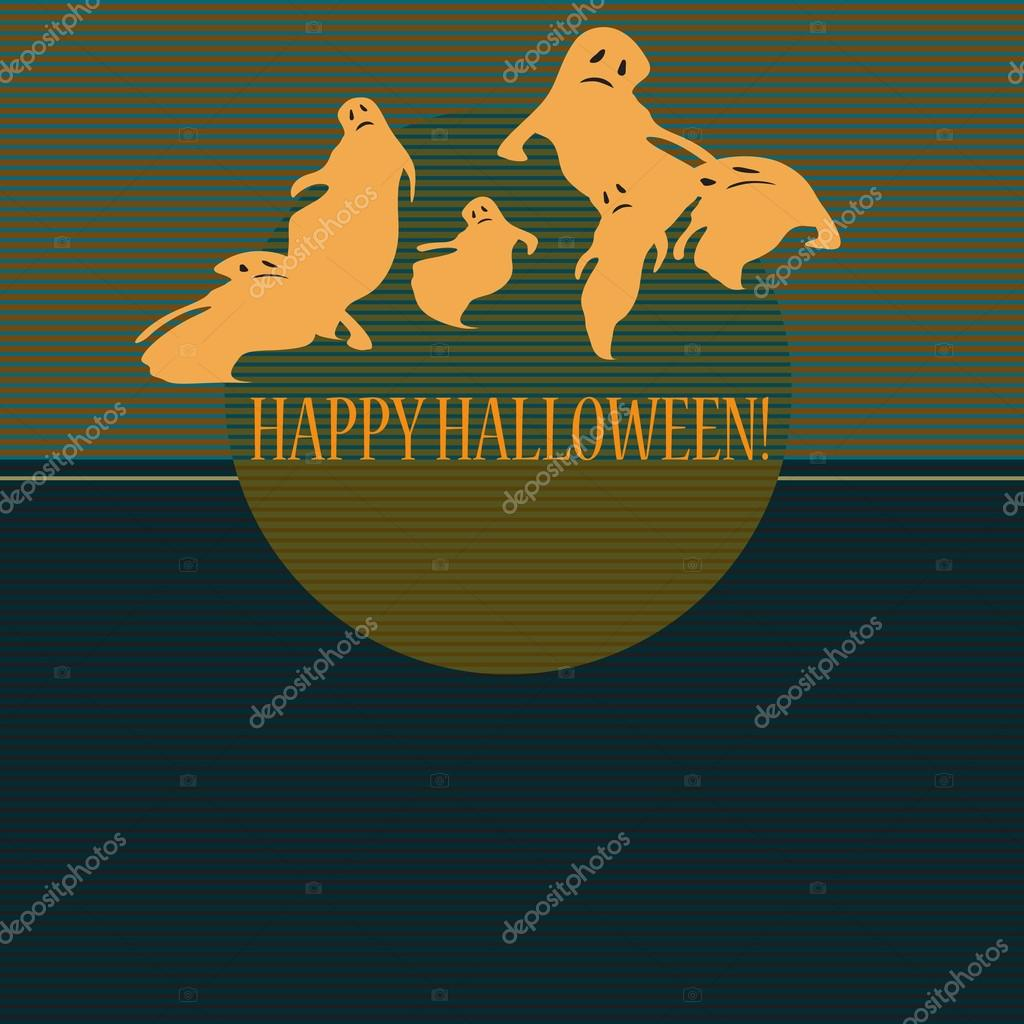 Halloween with ghosts. Can be used as card, background and poster — Stock Vector #12859053