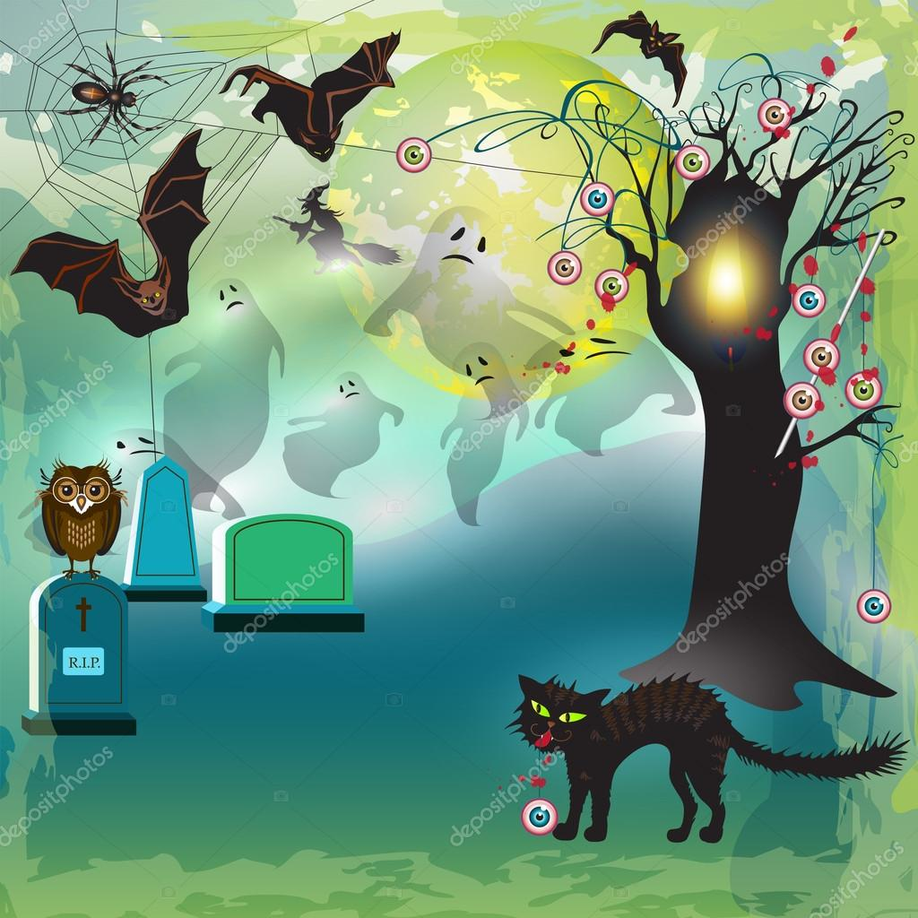 Scary halloween with tree, eyes, bats and gravestones  — Stock Vector #12859074
