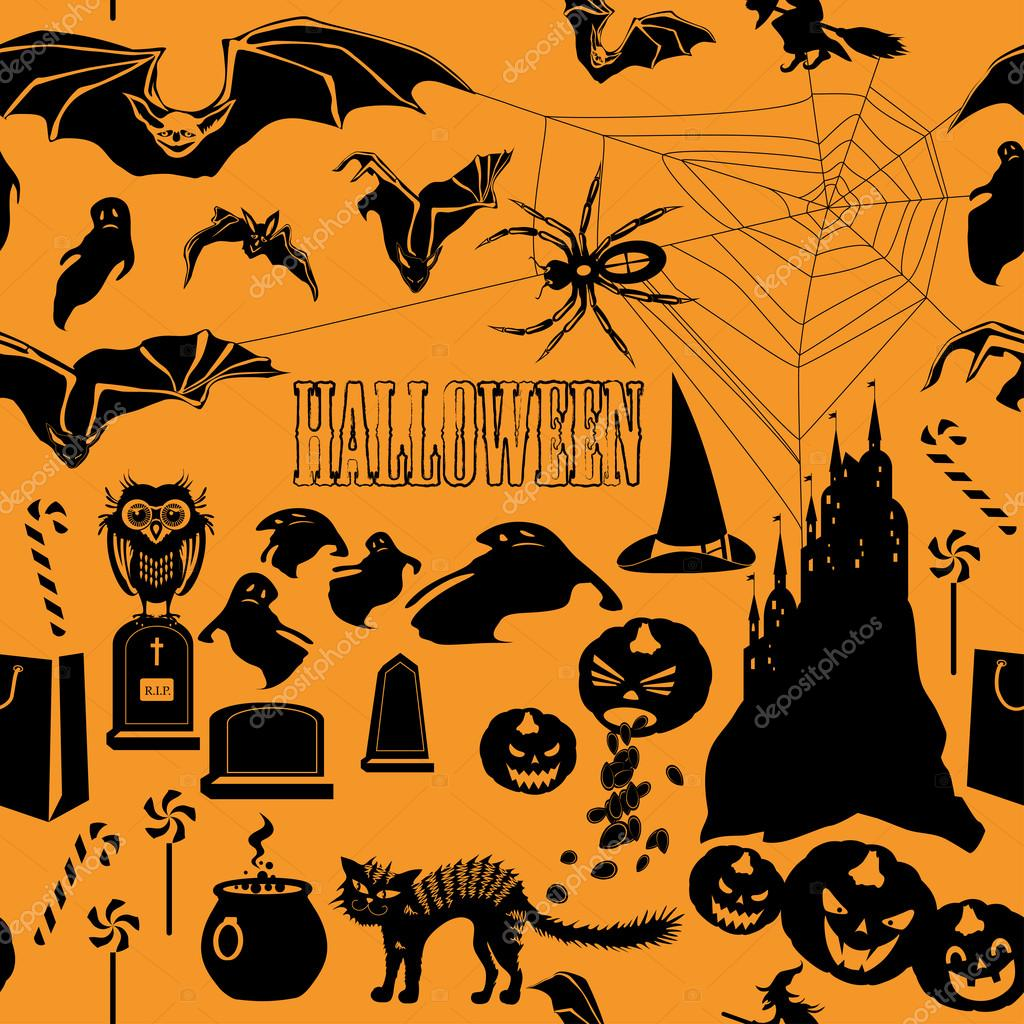 Halloween seamless pattern on orange background — Stock Vector #13201048