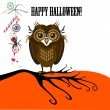 Halloween with cute owl, spider and candy — Stockvectorbeeld