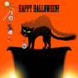 Halloween with cat, spider, candy and eyes - Stock Vector