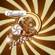 Chocolate background and candy — Stock Vector #13876943