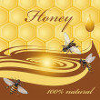 Royalty-Free Stock Vektorgrafik: Honey background and bees