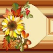 Autumn background with sunflower — Stock Vector