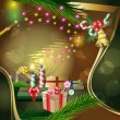 Christmas decoration with candles and gifts — Stockvektor