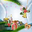 Christmas decoration with candles and gifts — Imagen vectorial