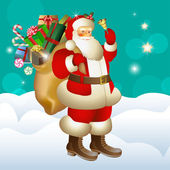 Happy Santa Claus with sack of gifts — Stock Vector